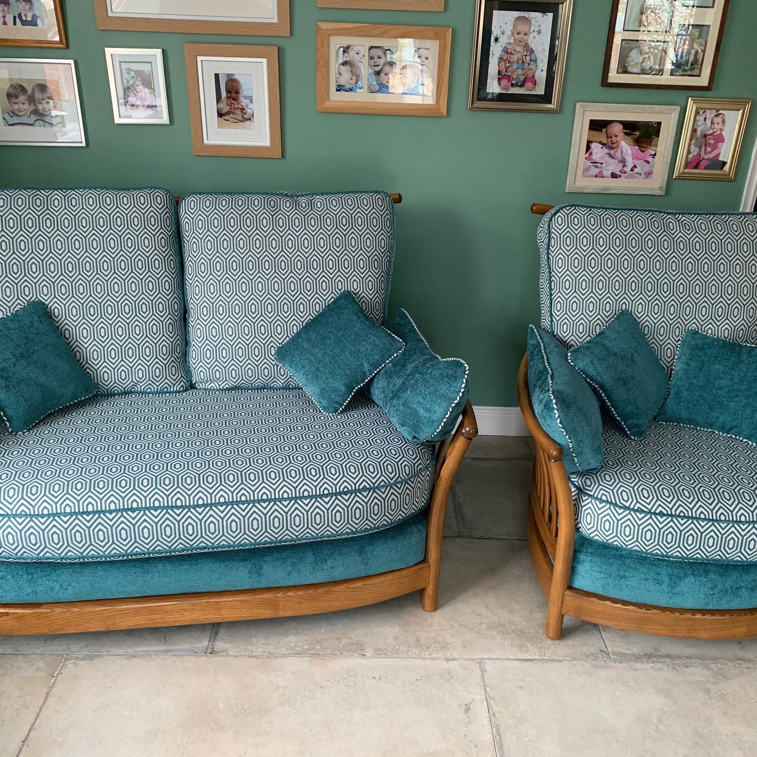 Ercol furniture and cushions recovered