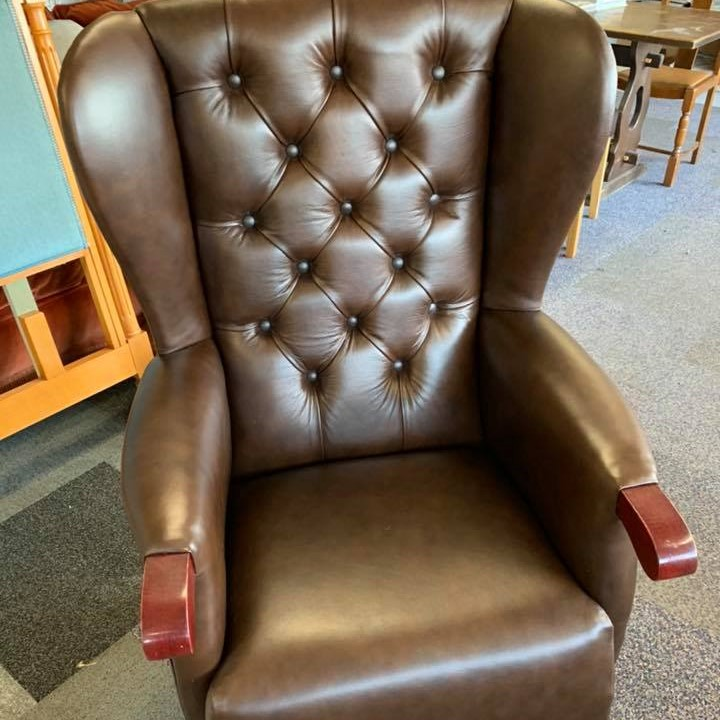 High back wing chair with new leather